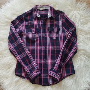 Love Culture Navy Pink Plaid Button Up Shirt